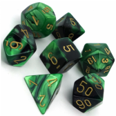 Black & Green Gemini Polyhedral 7 Dice Set